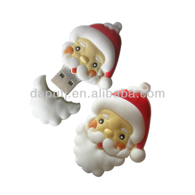 Mini 3D PVC Santa clause usb flash drive for Christmas gift