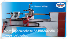 CNC Wood lathe single axis double tools with sliding and cutting Wood turning lathe LD3015S