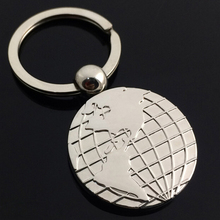 Promotional gift key chain custom metal die cut keychain, 2D 3D die casting zinc alloy globe world map model keychain keyring