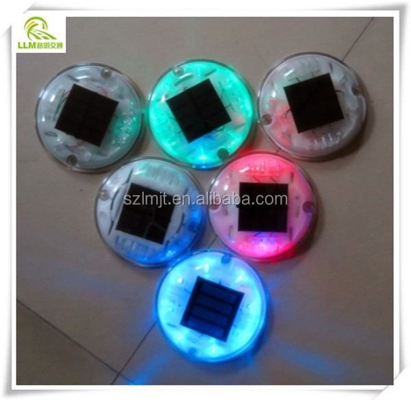 New arrival tunnel lighting colorful crystal plastic round wired LED solar road stud