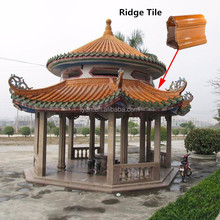 Asian style gazebo grey unglazed ancient japanese roof tile clay material