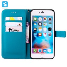 Pure color lambskin leather wallet phone case for iPhone 6 plus,mobile phone leather case