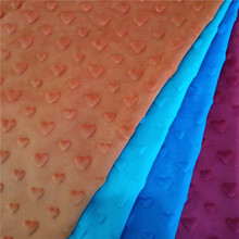 Heart design color minky dot embossed velboa fabric for wholesale