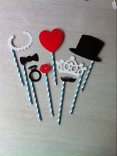 small order allowed 2014 Paper photo props for party and wedding use-8pcs/set props event and party