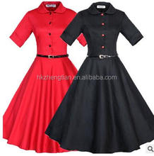 Women's Vintage Rockabilly Swing 1950's Evening Party Dress with Belt