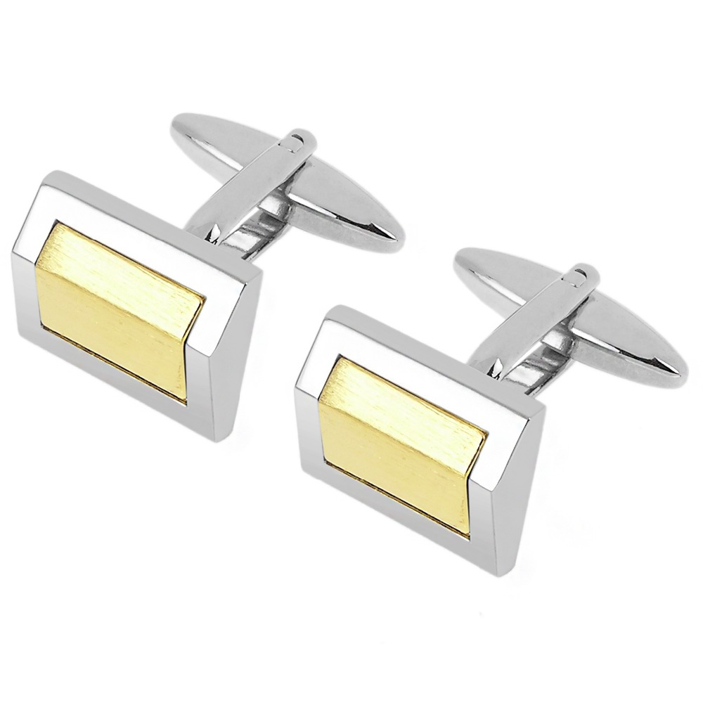 Classic gold silver two tone brushed cufflinks