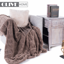 Luxurious Jacquard Weave Double Layer Genuine Mink Rabbit Fur Blanket