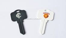 Plastic key shape customized printed logo keychain keyring for promotion and souvenir