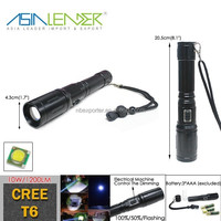 3 Brightness Mode Semi-auto Dimming Aluminum 3AAA Cree T6 10W 2015 High Power Police Flashlight