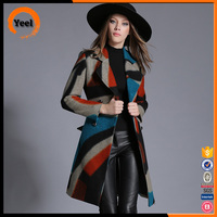 High quality multicolor double breasted belt lapel knee length women winter coat