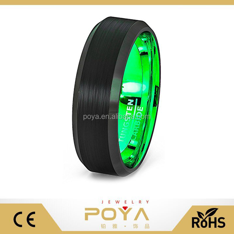 POYA Jewelry 8mm Mens Wedding Band ,Two Tone Black Tungsten Ring Brushed Beveled Edge Inside Fluorescent Green Comfort Fit