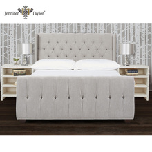 High quality queen bed frame fabric bed/upholstered queen size button tufting headboard set