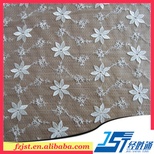 Swiss white high quality embroidered polyester wedding dress organza fabric in stock