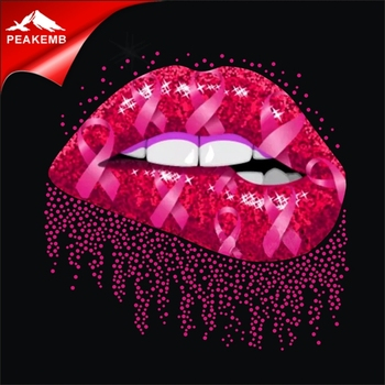 Wholesale Breast Cancer Pink Lips Rhinestone Transfers Iron on T shirts