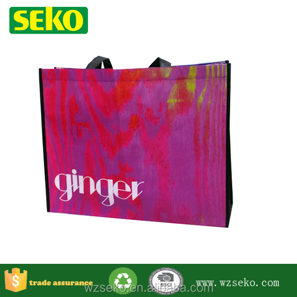 80g non woven artistically camouflage shopping bag with piping