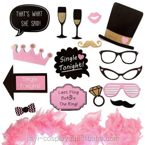 Bachelorette Ladies Night Party Photo Booth Props with feather