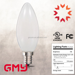 China Led company LED Milky White B11M Edison Light Bulb 3W 4W 5W 2700k E12 E26 Led Filament Candle