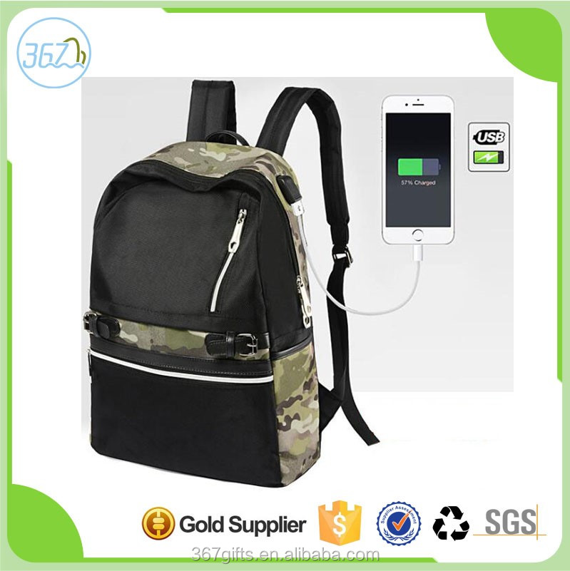 Popular trendy camouflage waterproof anti theft usb charging laptop backpack for women