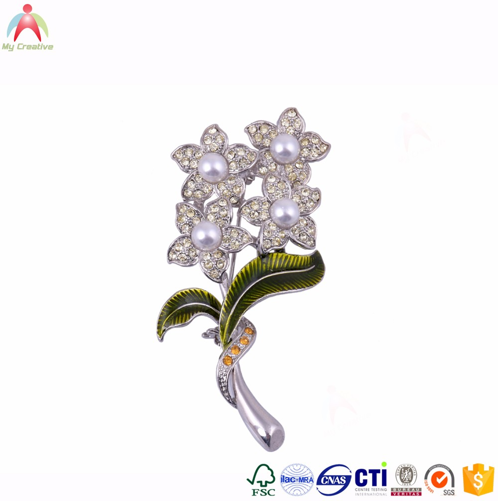 Wholesale High quality <strong>metal</strong> and crystal flower brooch