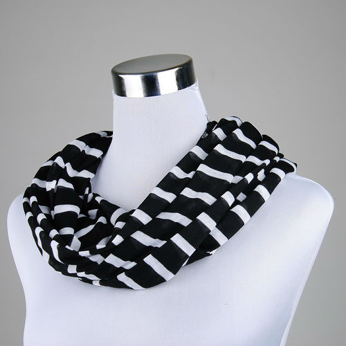 Fashion Colorful Black And White Striped Polyester Infinity <strong>Scarf</strong>