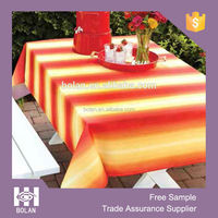 Hot sale out door waterproof tablecloth, polyester printed table cloths, ombre stripe