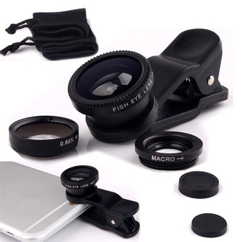 Best gift 3 in 1 Wide Angle Macro Fisheye Lens Kit with Clip 0.67x Mobile Phone Fish Eye Lens for iPhone Lens