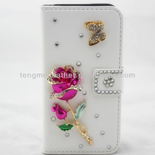 Diamonds rose leather wallet stand case for Samsung Galaxy S4 i9500,white beads leather wallet case for Samsung Galaxy S4