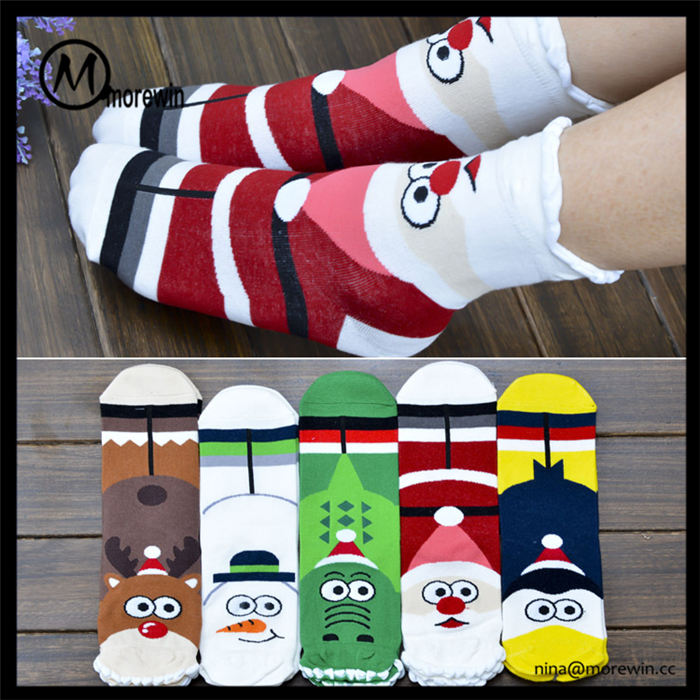Morewin Socks Manufacturer Supply Cute Custom Cartoon Tube Socks Wholesale Women Christmas Socks