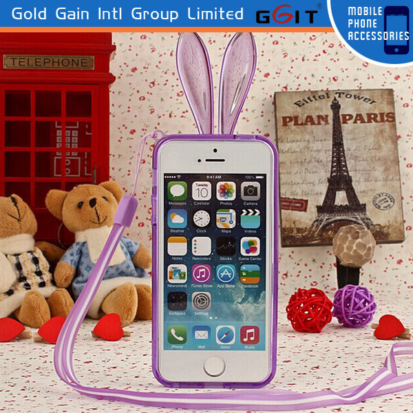 Silicone Case with Chain for iPhone 5, for iPhone 5 Phone Case Chain,Rabbit Case for iPhone 5