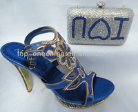 2013 newest high-end design of wholesale italian matching shoe and bag for party(TSH81-royal blue)