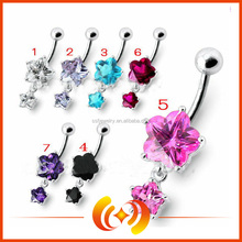 wholesale price Attractive colorful flower Shape Design lovely hanging Belly Button Rings