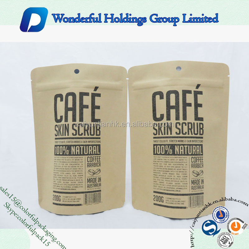200g coffee scrub packaging bag resealable kraft paper pouch foil lined doypack food packing kraft bag