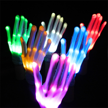 LED Optical Fiber Gloves Multicolor Raver Party Dance Flashing Gloves Magic Mitts White