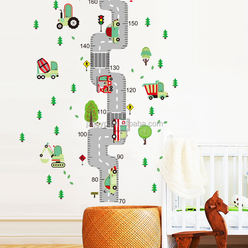 Diy kids growth height measure fashion cartoon transportation 3d wall sticker