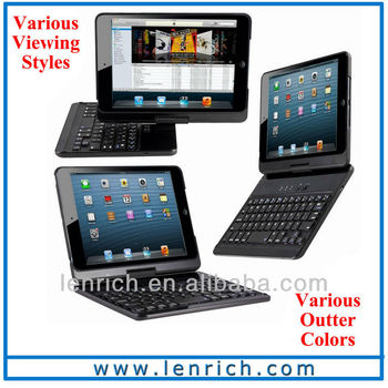 LBK156 360 degree rotation wireless ABS keyboard for ipad mini 2 bluetooth keyboard for the new ipad mini