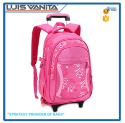 High Quality Convenient Pink Kids School Trolley Bag
