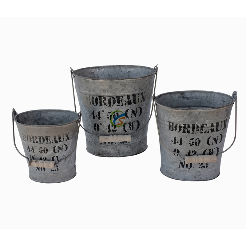 3 Piece Set Metal Rustic Oval Bucket Planter