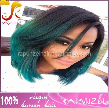 New Fashion Stock Cheap 130% Density short Silky Straight Ombre 1b/green Brazilian bob style human hair full lace wig