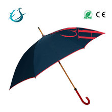 Double layer best quality wooden shaft straight umbrellla