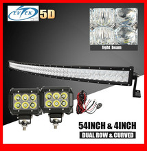5D LENS Crees led light bar 54 Inch curved led lamp 4inch 18W CREES bar light