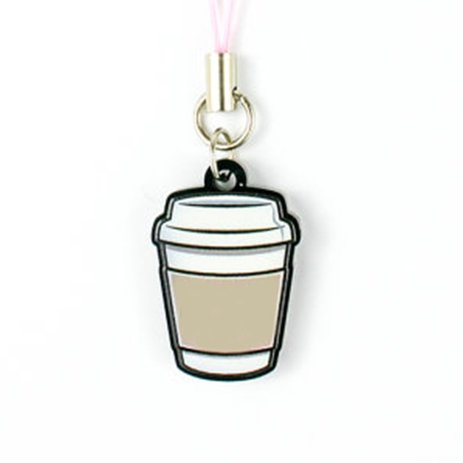 acrylic coffee charm pendant with phone strap or keychain logo Printable charm