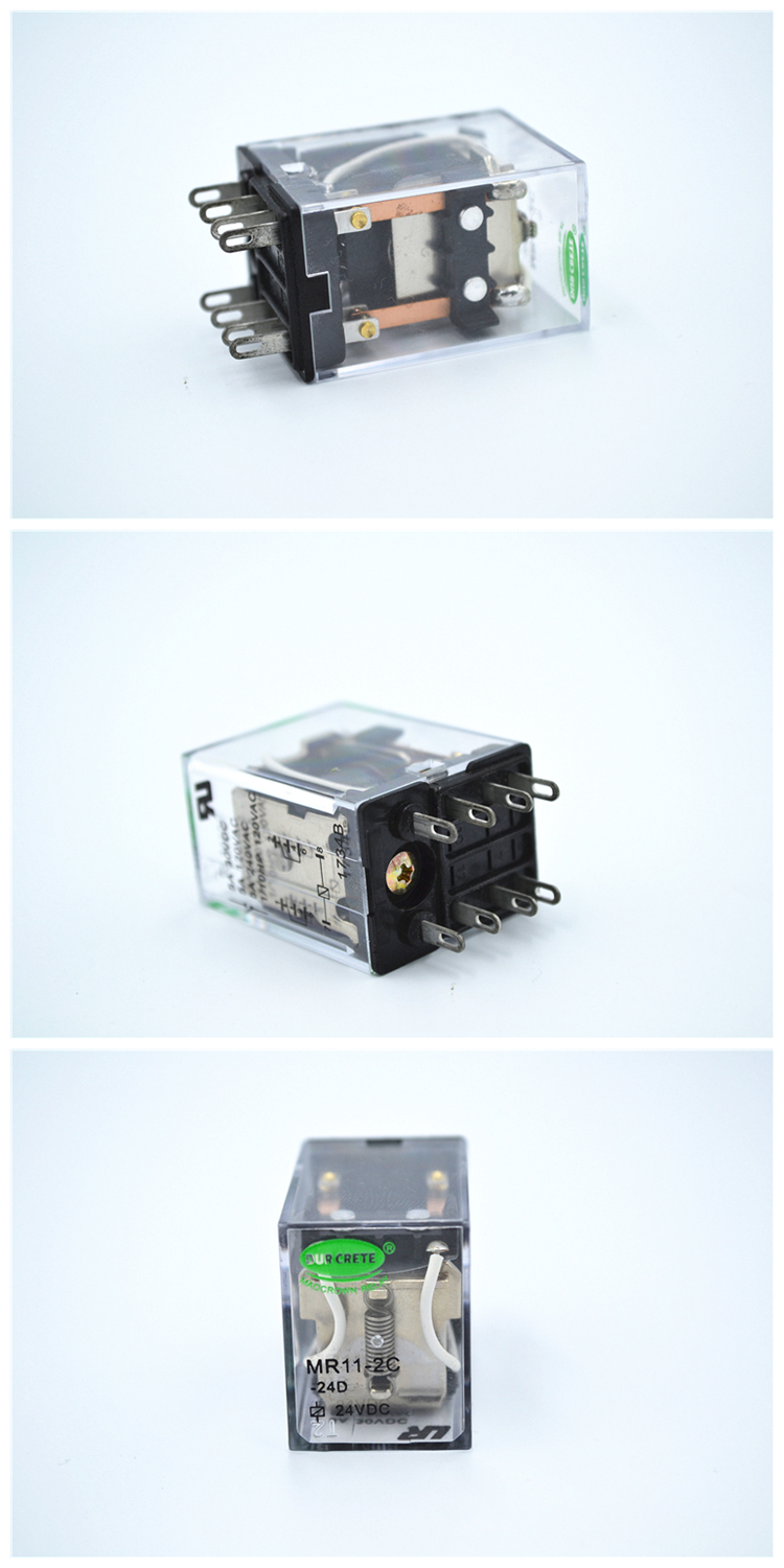 Hot Sale DPDT 4PDT Diaphanous Plain Cover Auto Relay with Sockets and Adapters