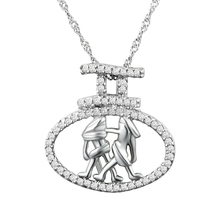 Solid 925 sterling silver gemini pendant, zodiac jewelry wholesale
