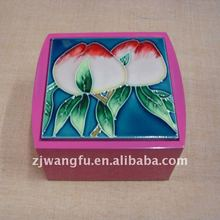 pink wooden ceramic jewelry box from China factory