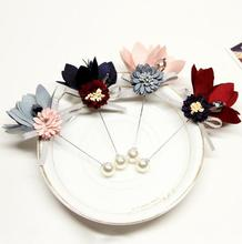zm53220a Fashion Handmade Cloth Flower Shape Brooches For Wedding Party And Business Suit
