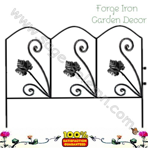 Hand Forged Wrought Iron Garden Fence Panel