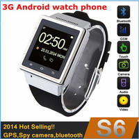 3g android watch phone with wifi MTK6577 dual core,512MB RAM 4GB ROM, 2Mp camera,GPS,bluetooth 3.0,free shipping!
