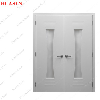 modern white double wood door designs with frame for houses