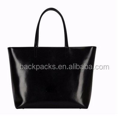 Customized patent cow leather women tote bag
