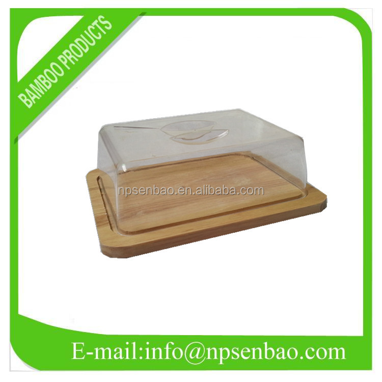 Rectangle Bamboo Cheese Plate with Plastic Cover